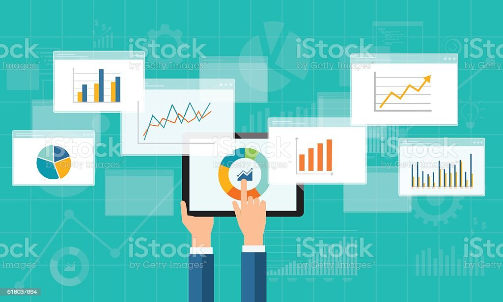 flat business analytics graph on mobile device vector art illustration
