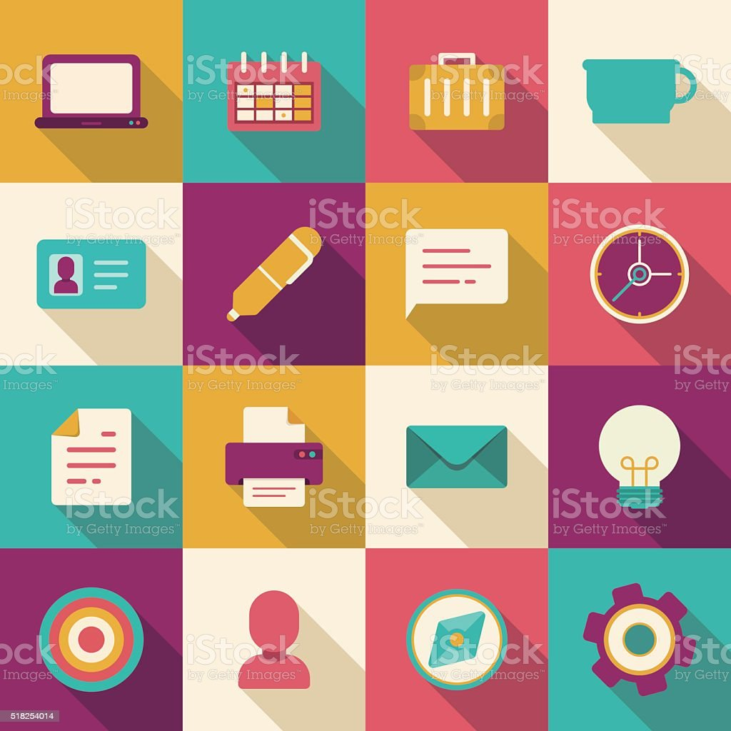 flat business and office icons vector art illustration