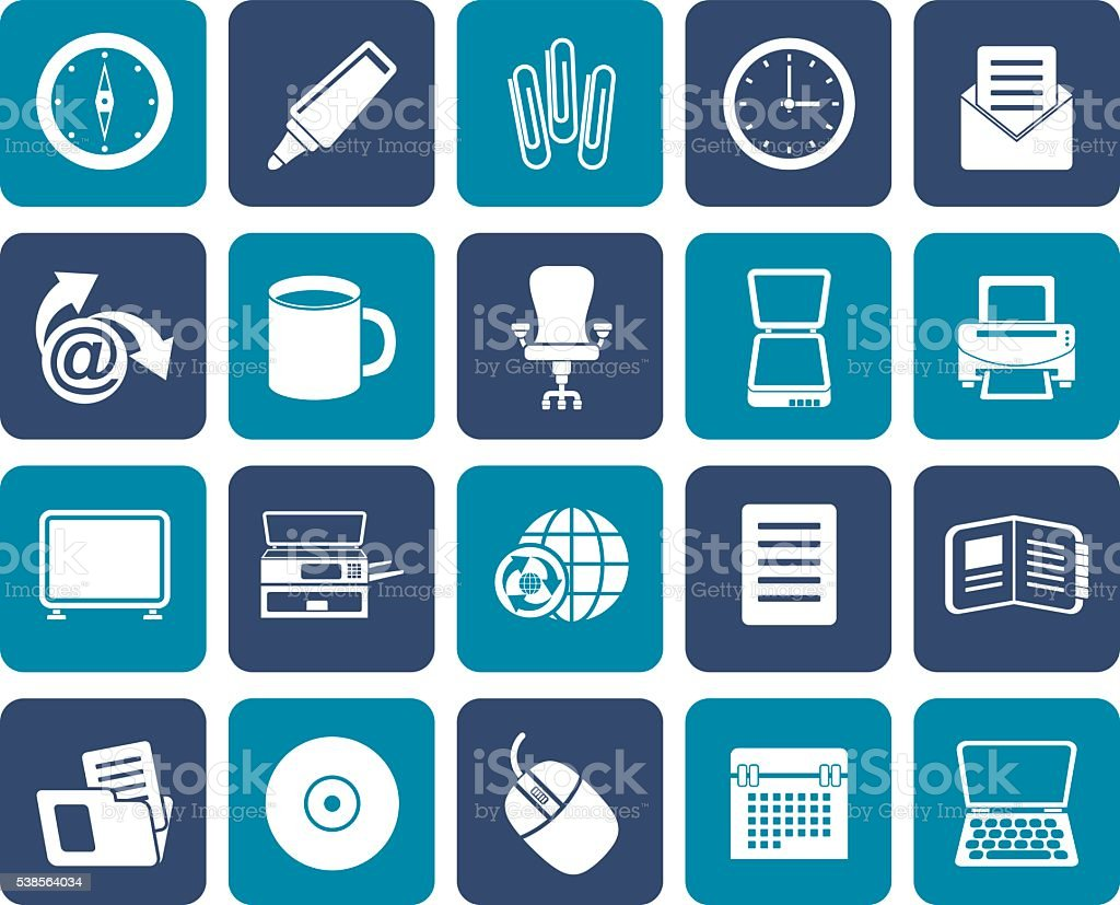Flat Business and Office tools icons vector art illustration