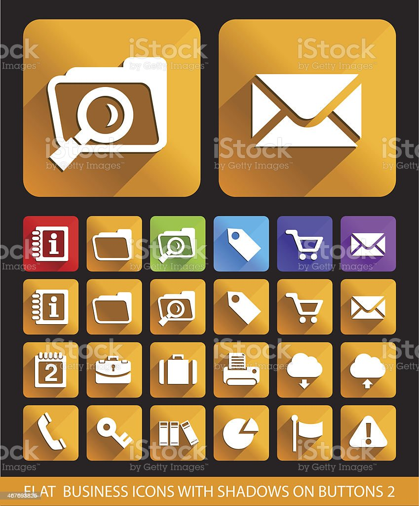 Flat Business Icons on Square Buttons. royalty-free stock vector art