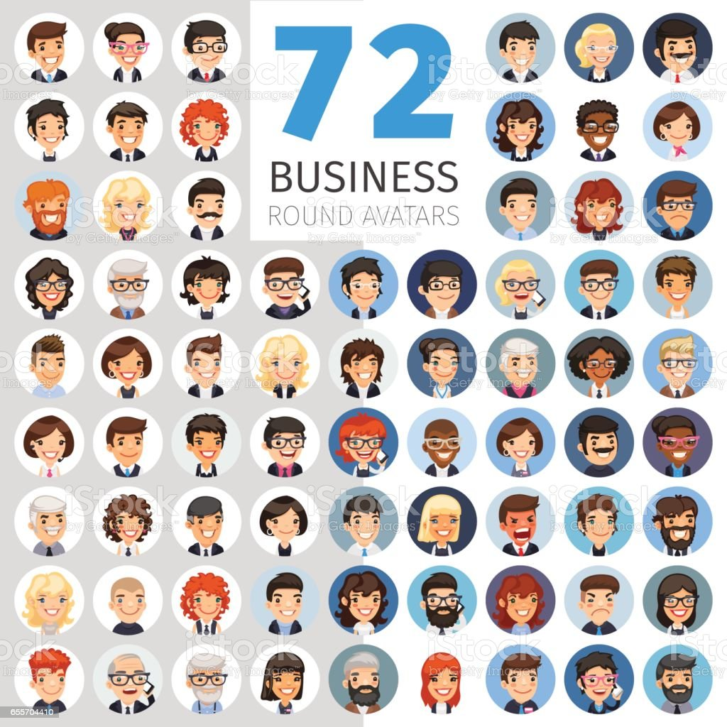 Flat Businessmen Round Avatars Big Collection vector art illustration
