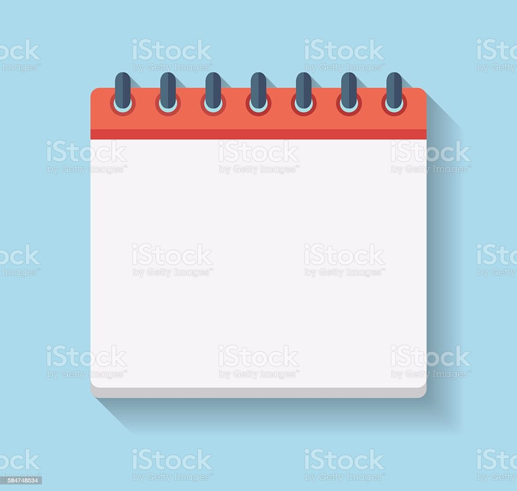 Flat Calendar Icon. Blank calendar template vector art illustration