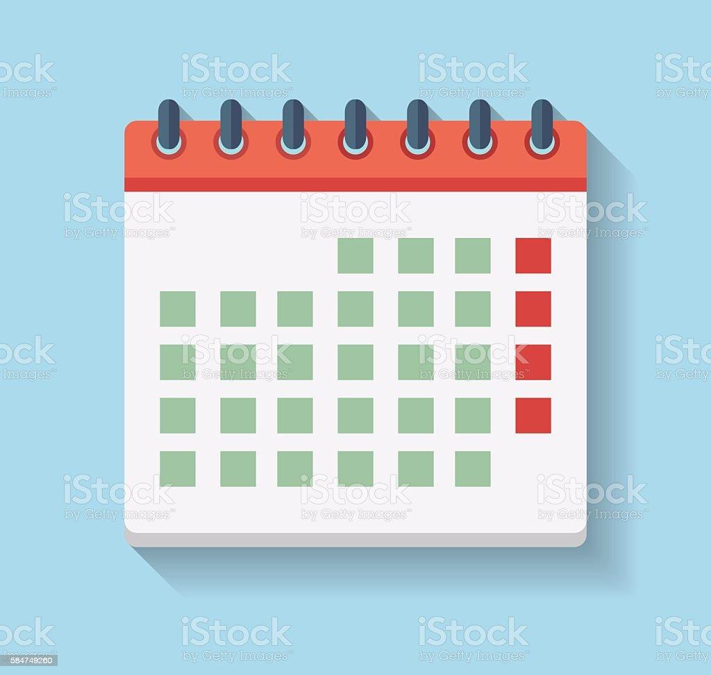 Flat Calendar Icon. vector art illustration