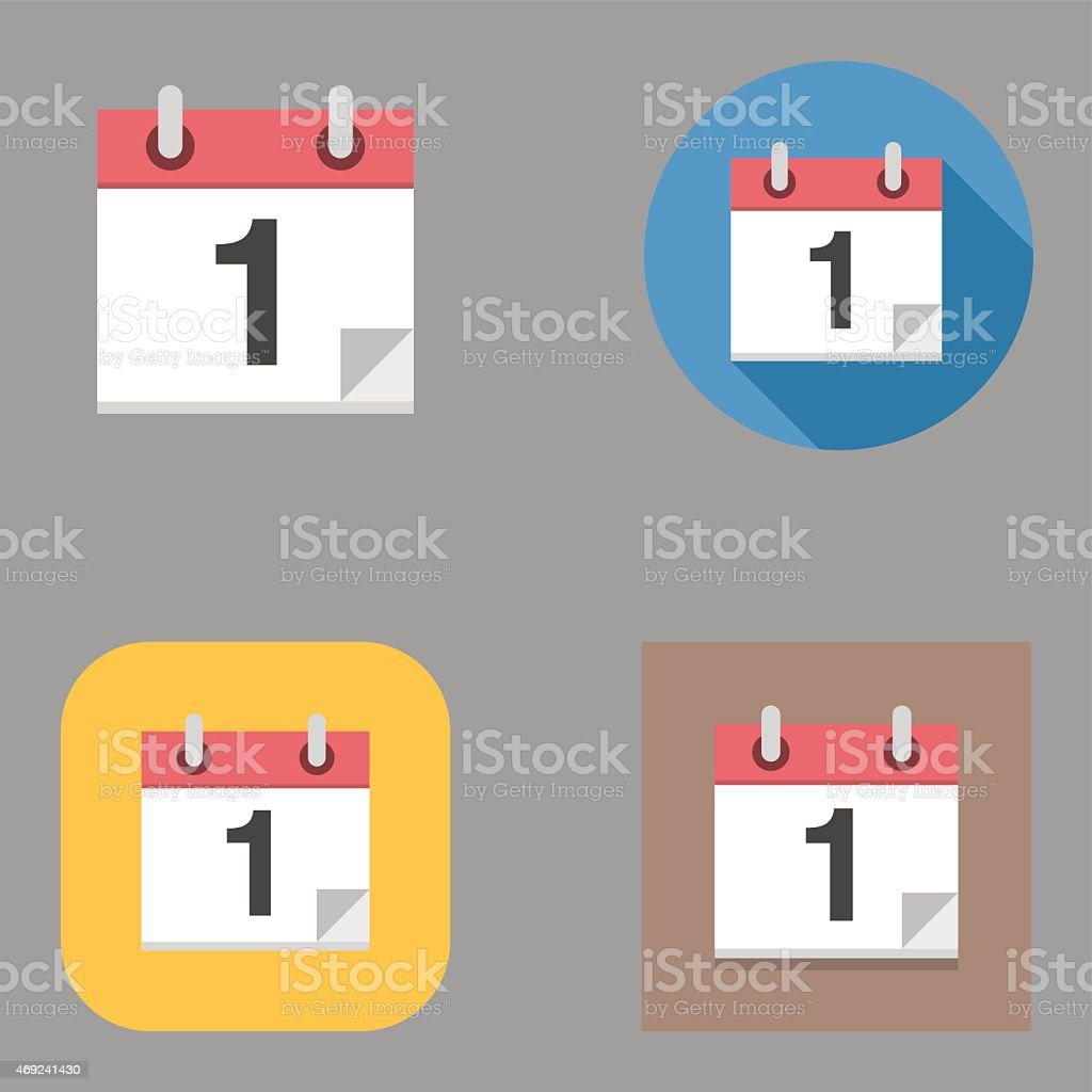 Flat Calendar icons | Kalaful series vector art illustration