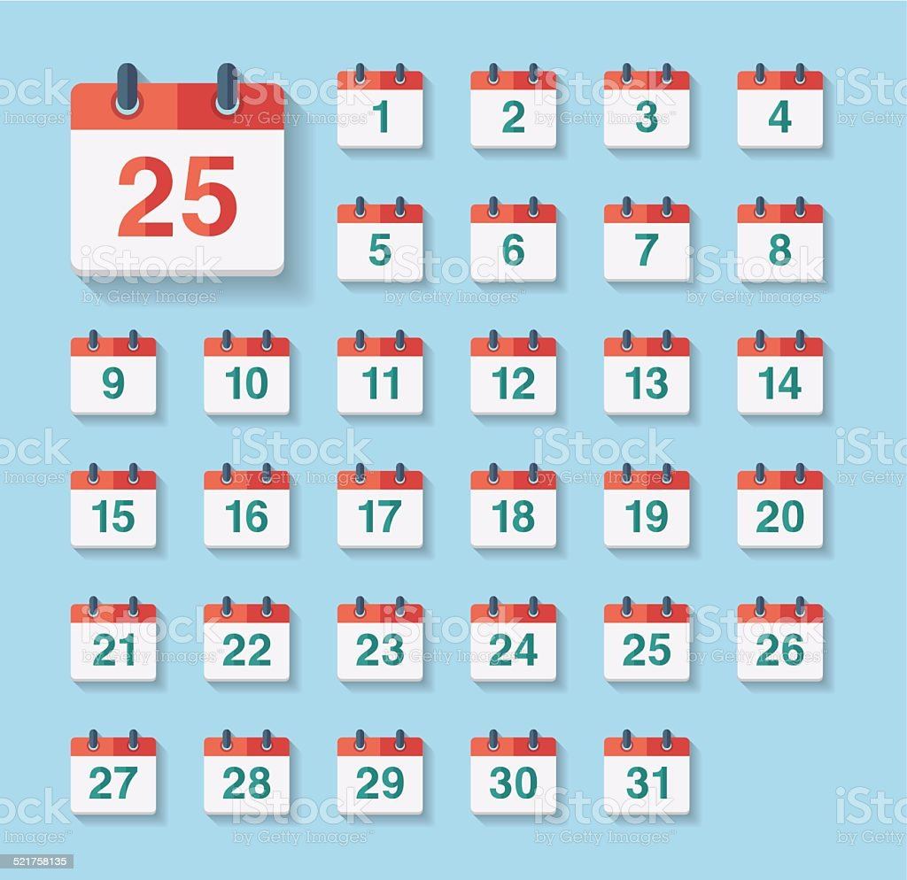 Flat Calendar Icons vector art illustration