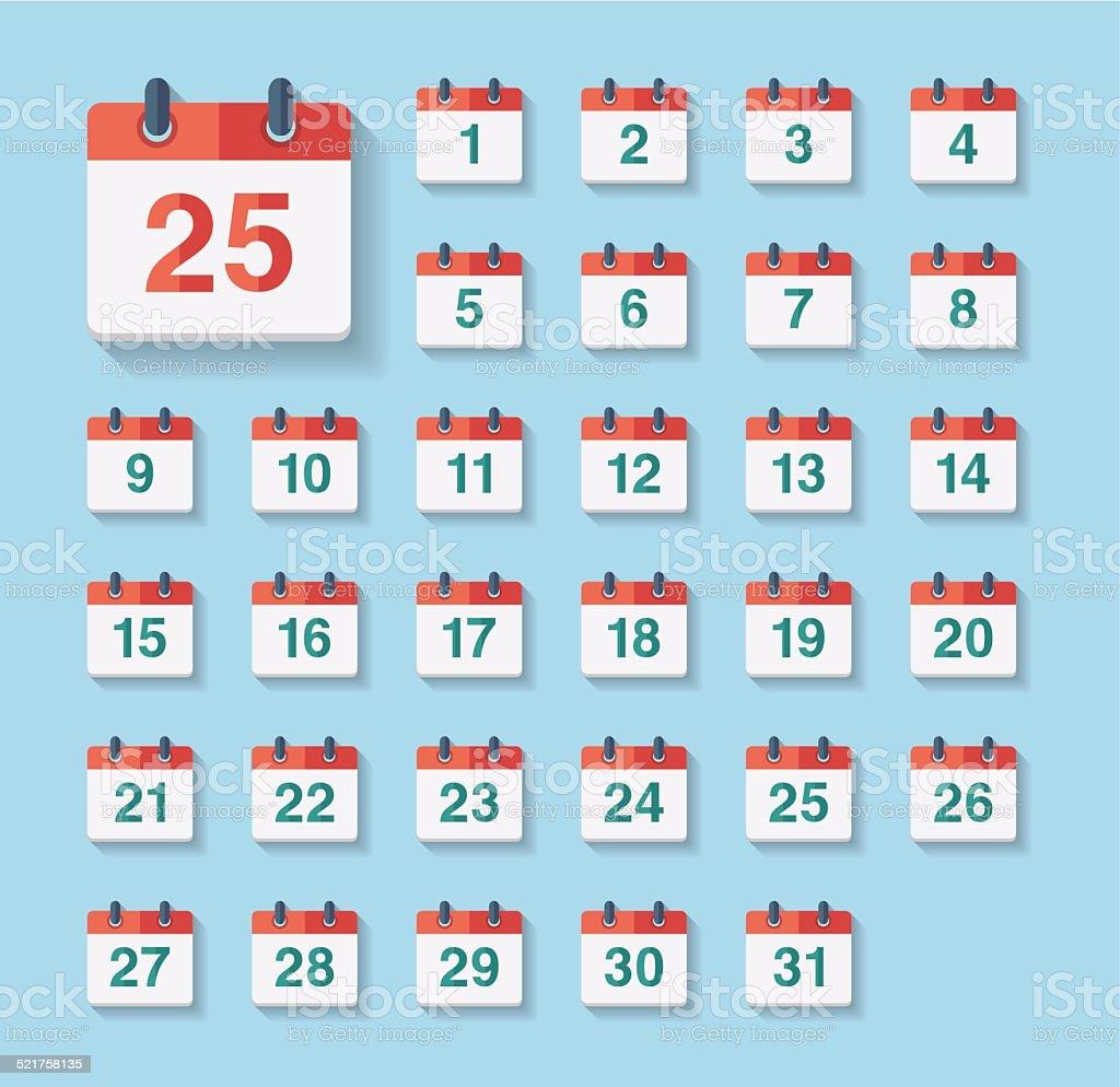 Flat Calendar Icons vector art illustration