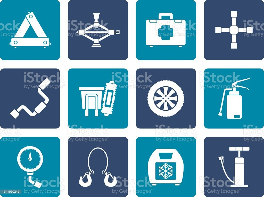 Flat car and transportation equipment icons vector art illustration