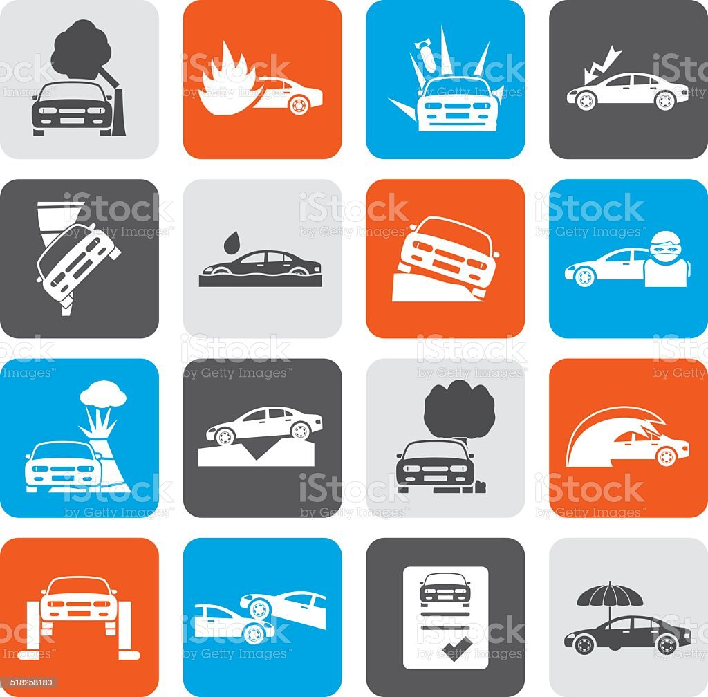 Flat car and transportation insurance and risk icons vector art illustration