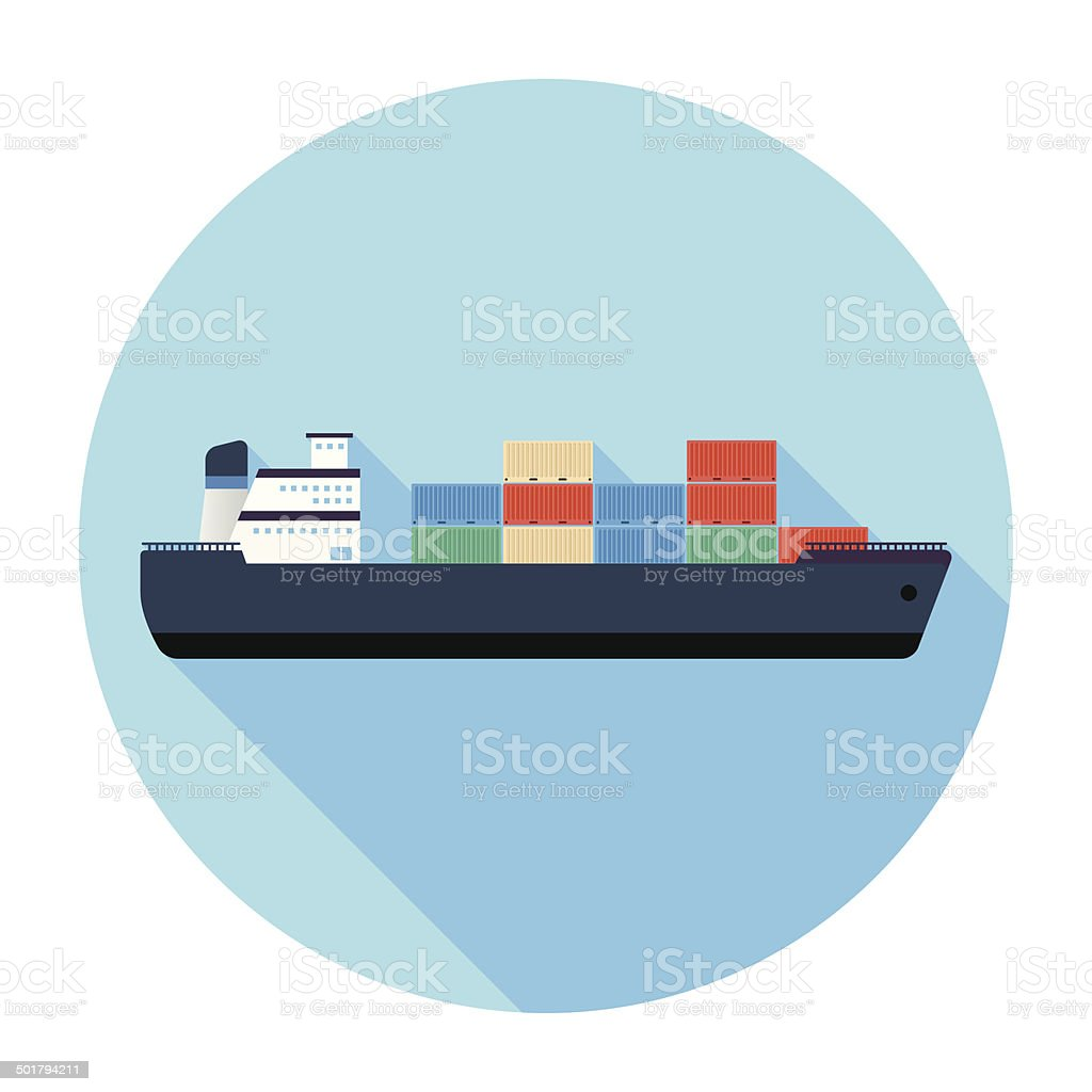 Flat Cargo Ship Icon vector art illustration