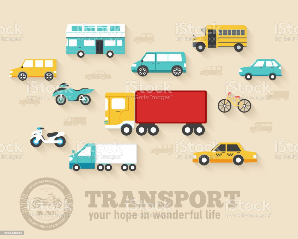 Flat cars concept set icon backgrounds illustration design. vector art illustration