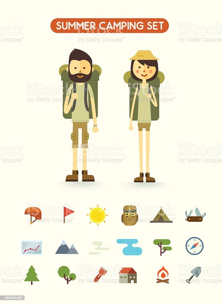 Flat cartoon couple with hiking equipment isolated on white background vector art illustration