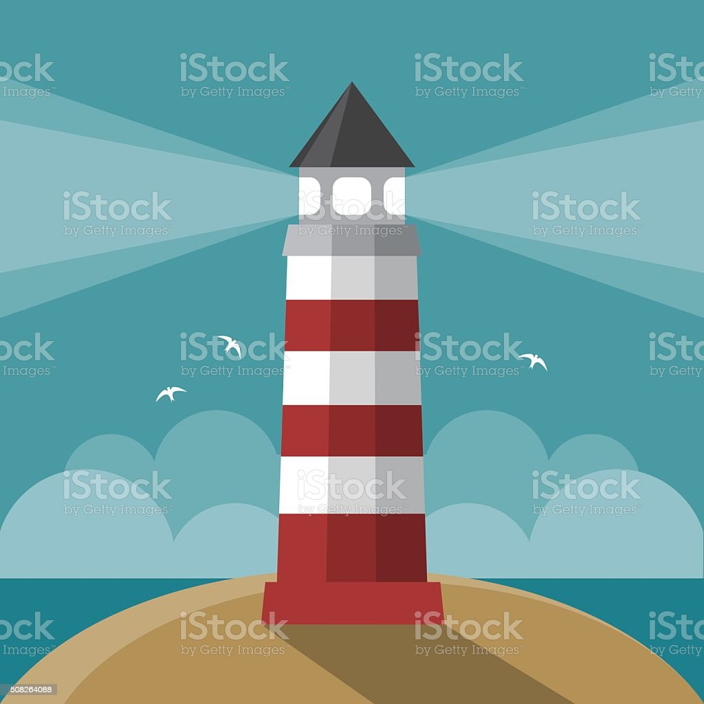 Flat cartoon lighthouse vector art illustration