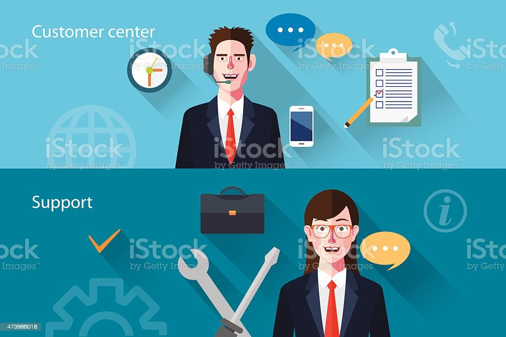 Flat characters of customer support concept illustrations vector art illustration