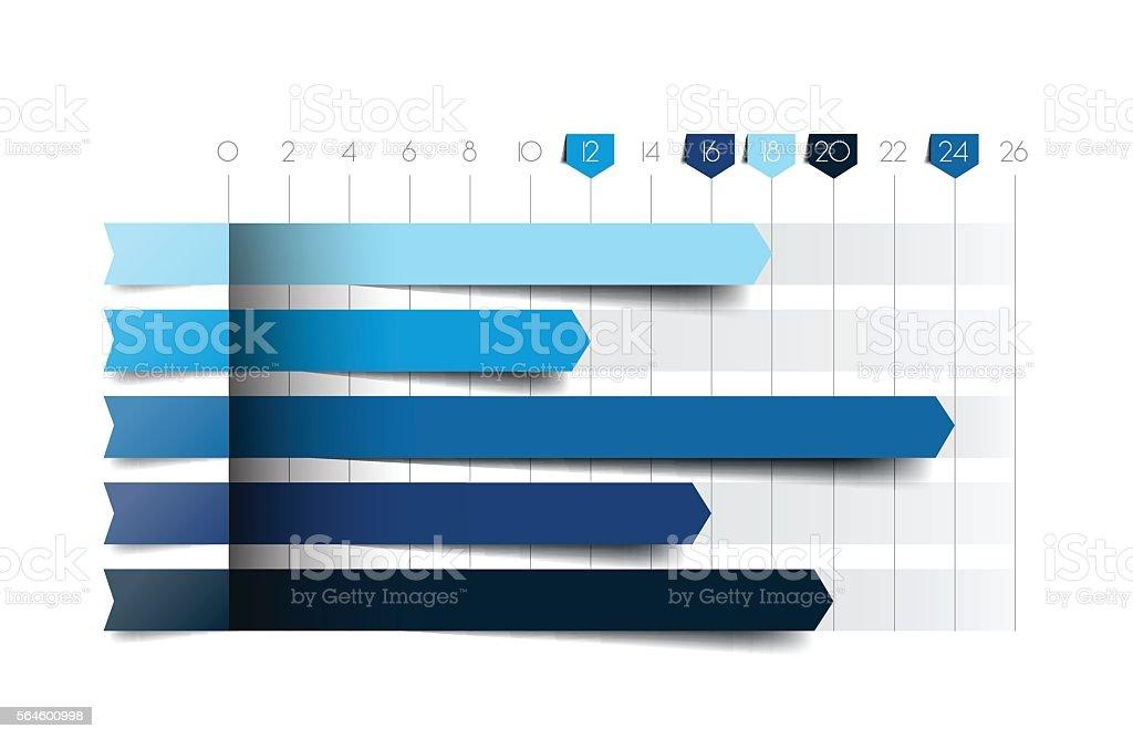 Flat chart, graph. Blue color. Infographics business elements. vector art illustration
