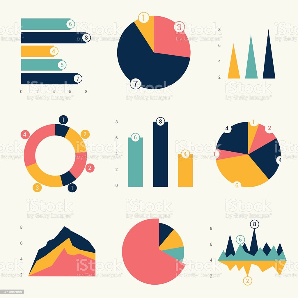 Flat charts, graphs. Vector design. royalty-free stock vector art