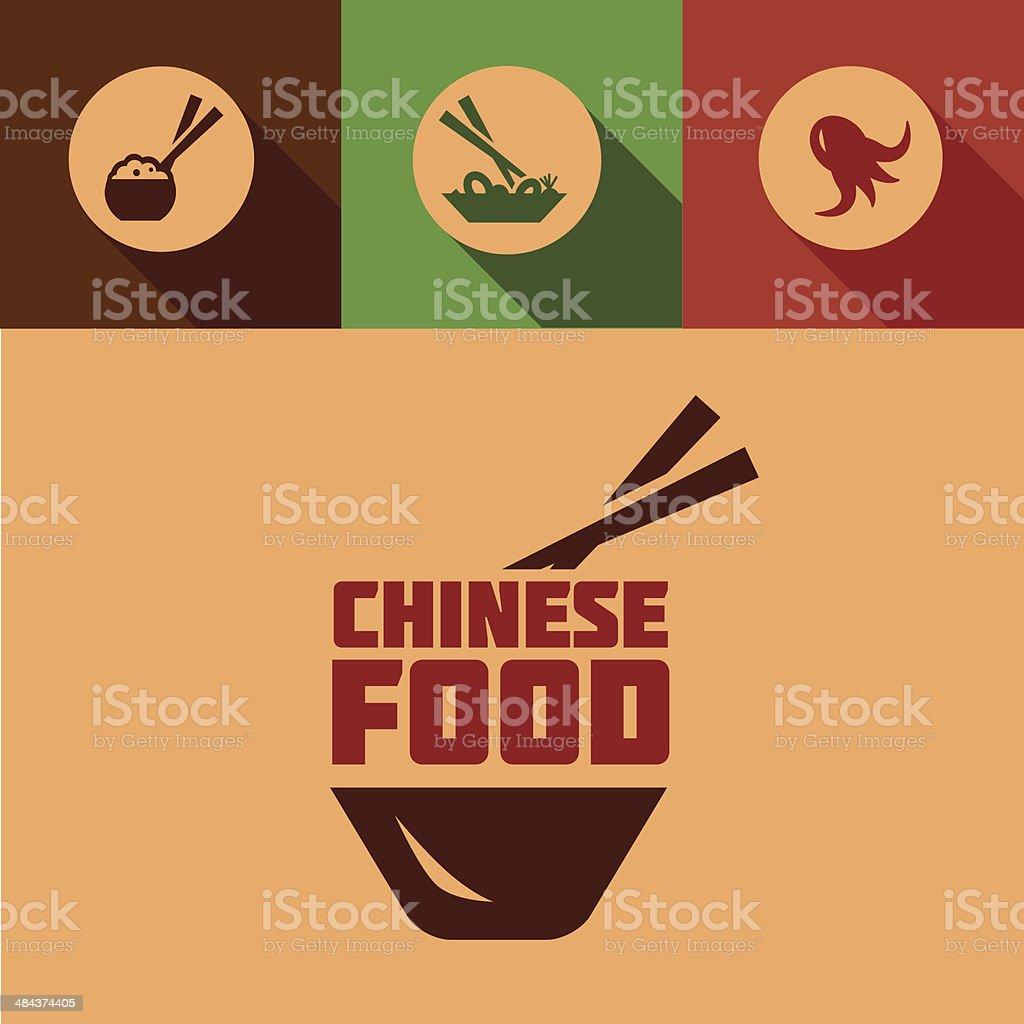 flat chinese food design vector art illustration