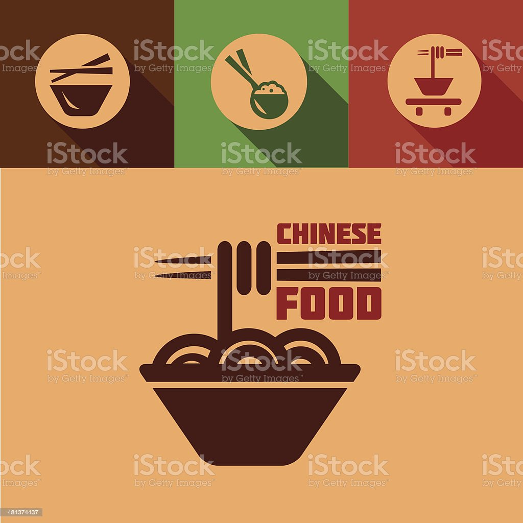 flat chinese food icons vector art illustration