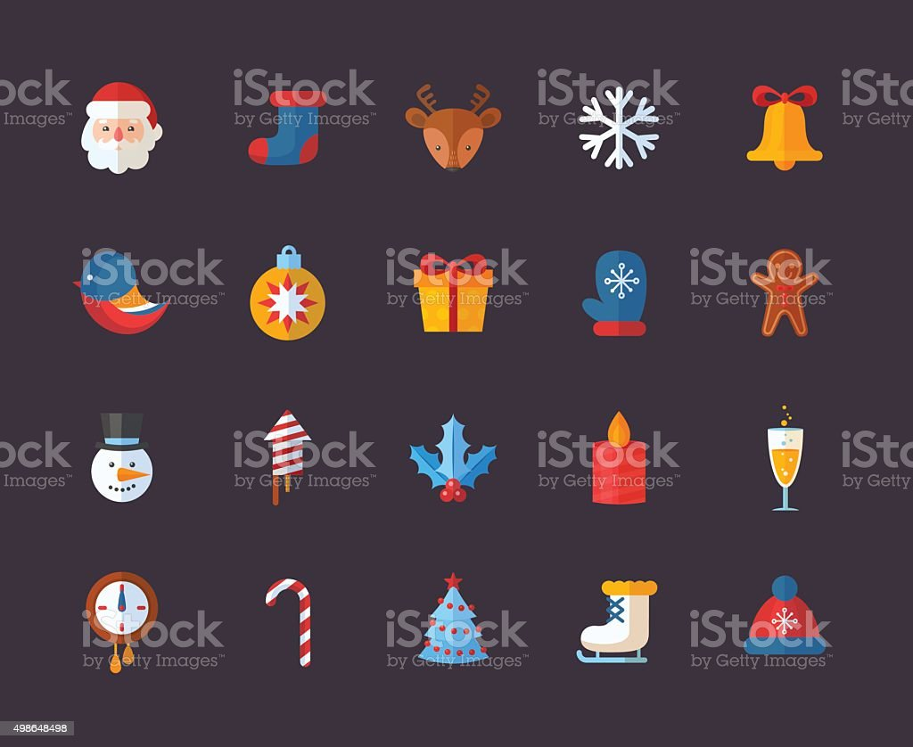 Flat Christmas and New Year icons set vector art illustration