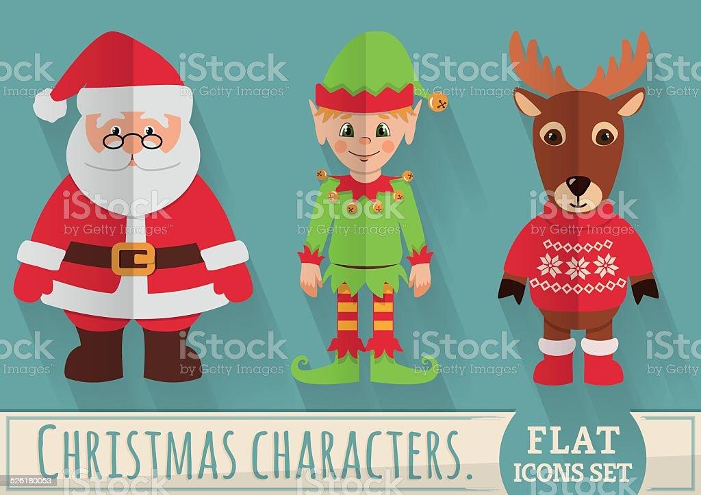 Flat Christmas characters vector art illustration