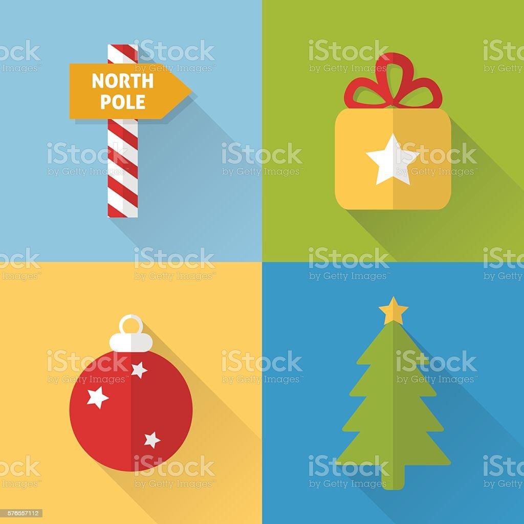 Flat Christmas icons set vector art illustration