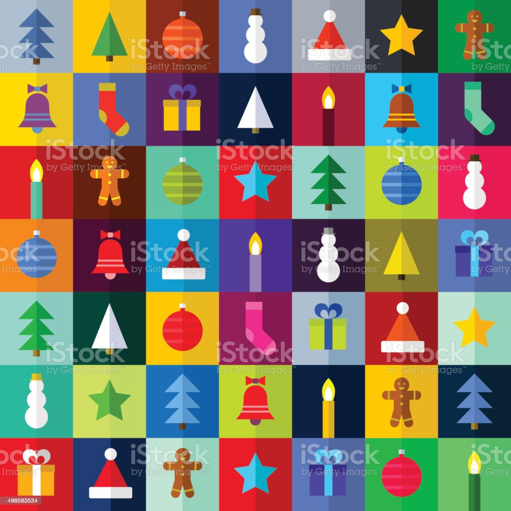 flat christmas pattern - vector Illustration vector art illustration