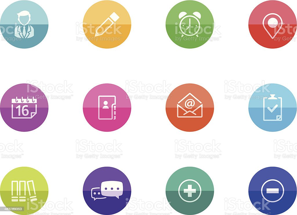Flat Circle Icons - Collaboration vector art illustration