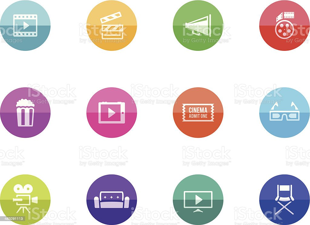Flat Circle Icons - Movie vector art illustration