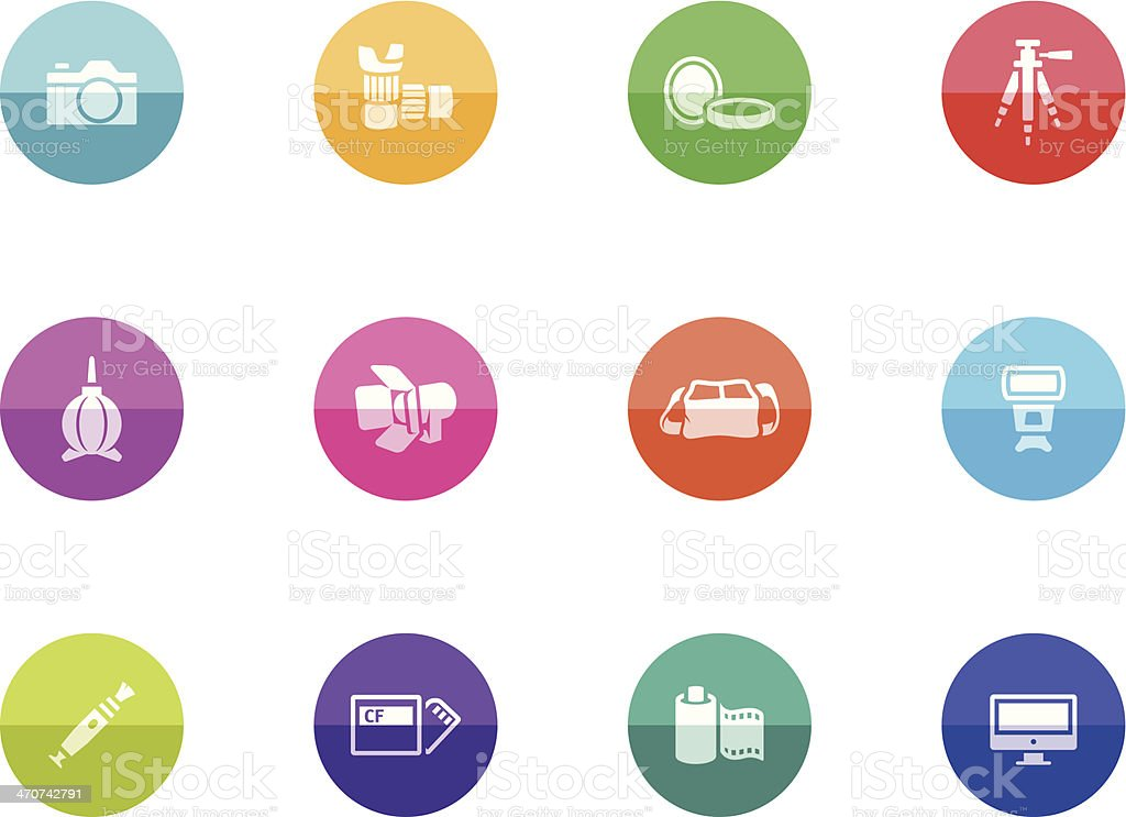 Flat Circle Icons - Photography vector art illustration