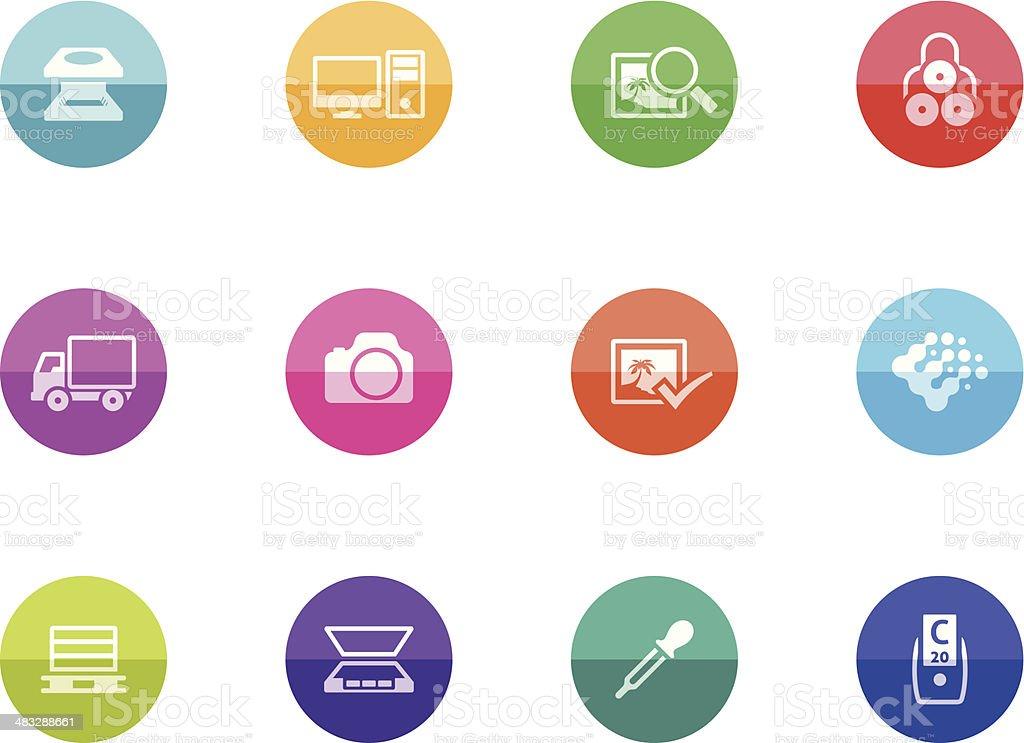 Flat Circle Icons - Printing Industry vector art illustration
