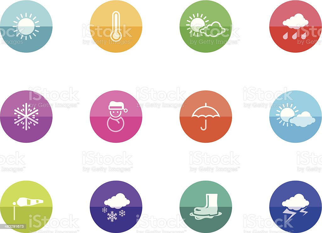 Flat Circle Icons - Weather royalty-free stock vector art