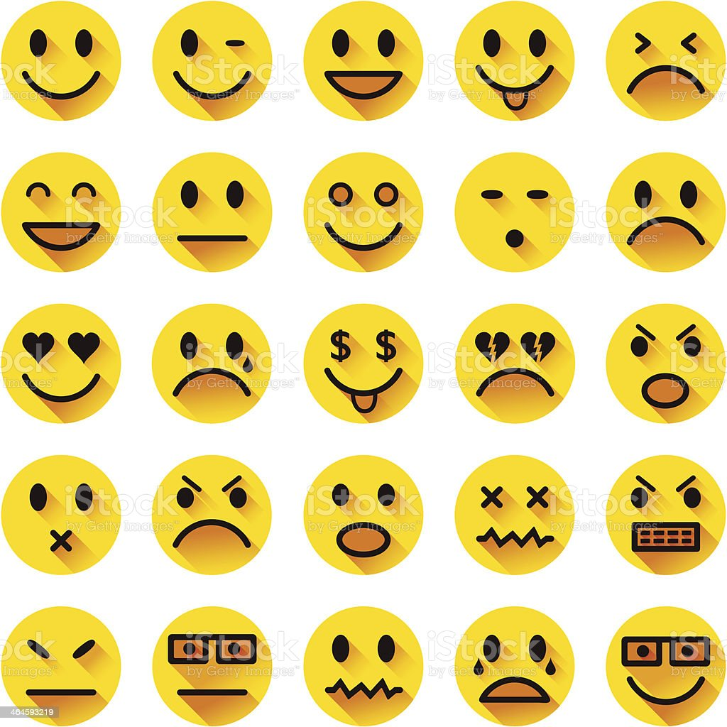Flat circle smiley icons vector art illustration