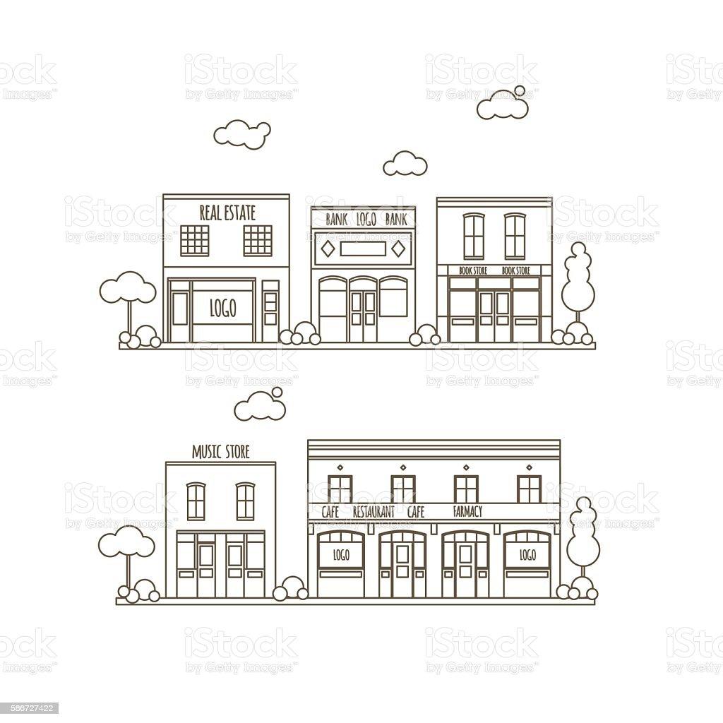 Flat City Street vector art illustration
