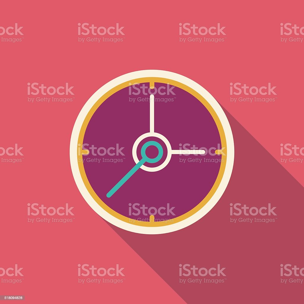 flat clock icon vector art illustration