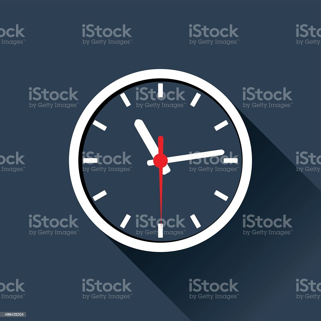 Flat Clock vector art illustration