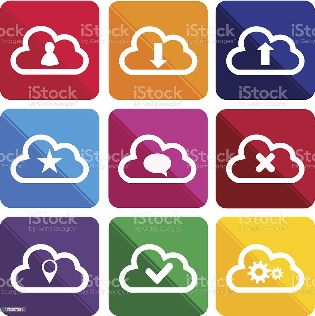 Flat cloud icons royalty-free stock vector art