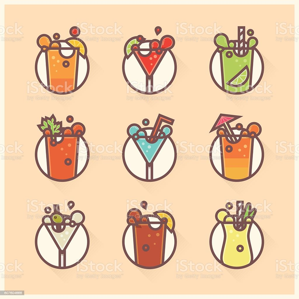 flat cocktails vector art illustration