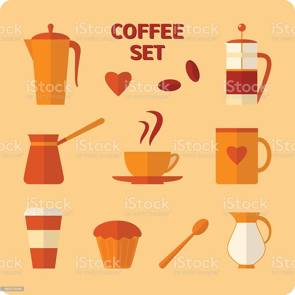 Flat coffee icons set vector art illustration
