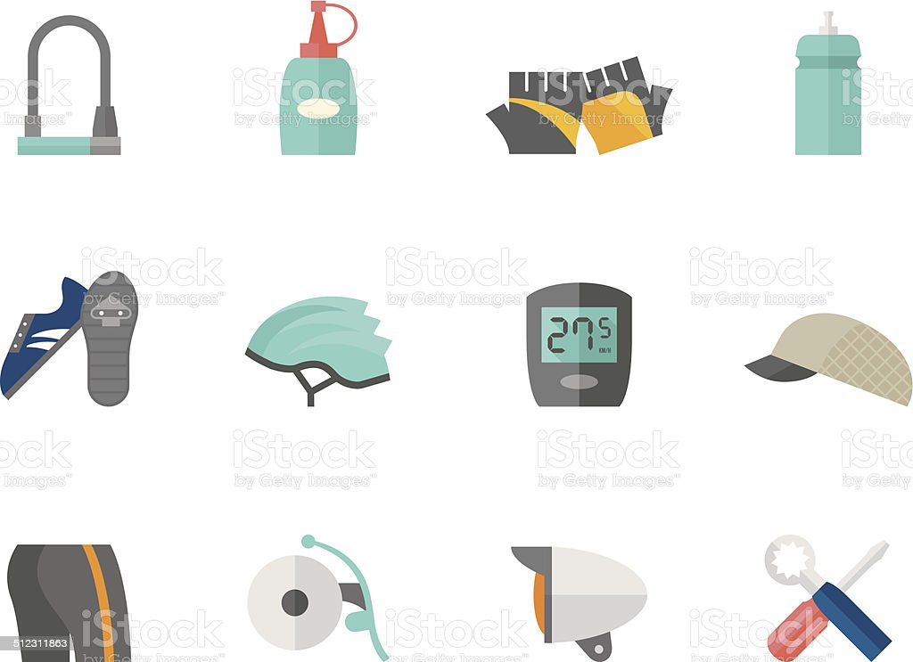 Flat Color Icons - Bicycle Accessories vector art illustration