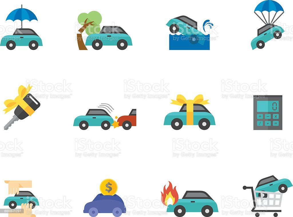 Flat Color Icons - Car Insurance vector art illustration
