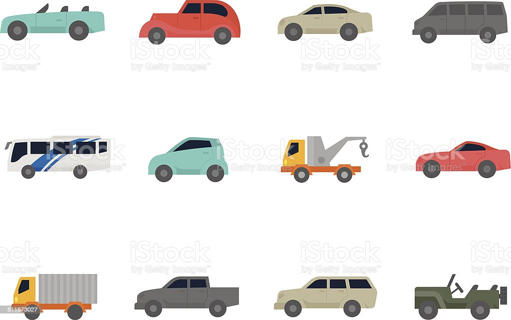 Flat Color Icons - Cars vector art illustration