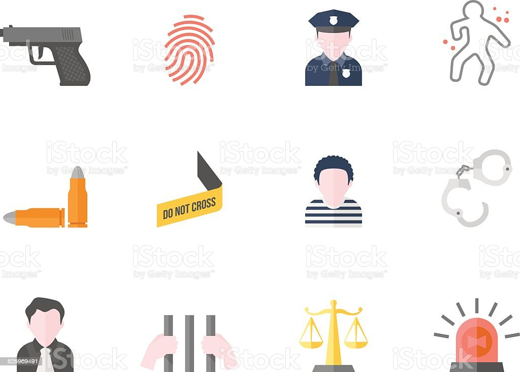 Flat Color Icons - Crime vector art illustration