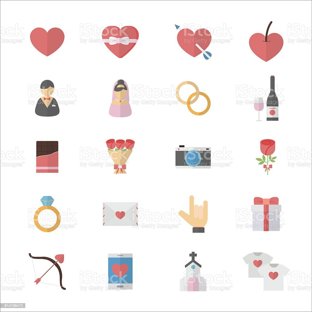 Flat Color Icons Design Set of Love Valentines and Wedding Icons. vector art illustration