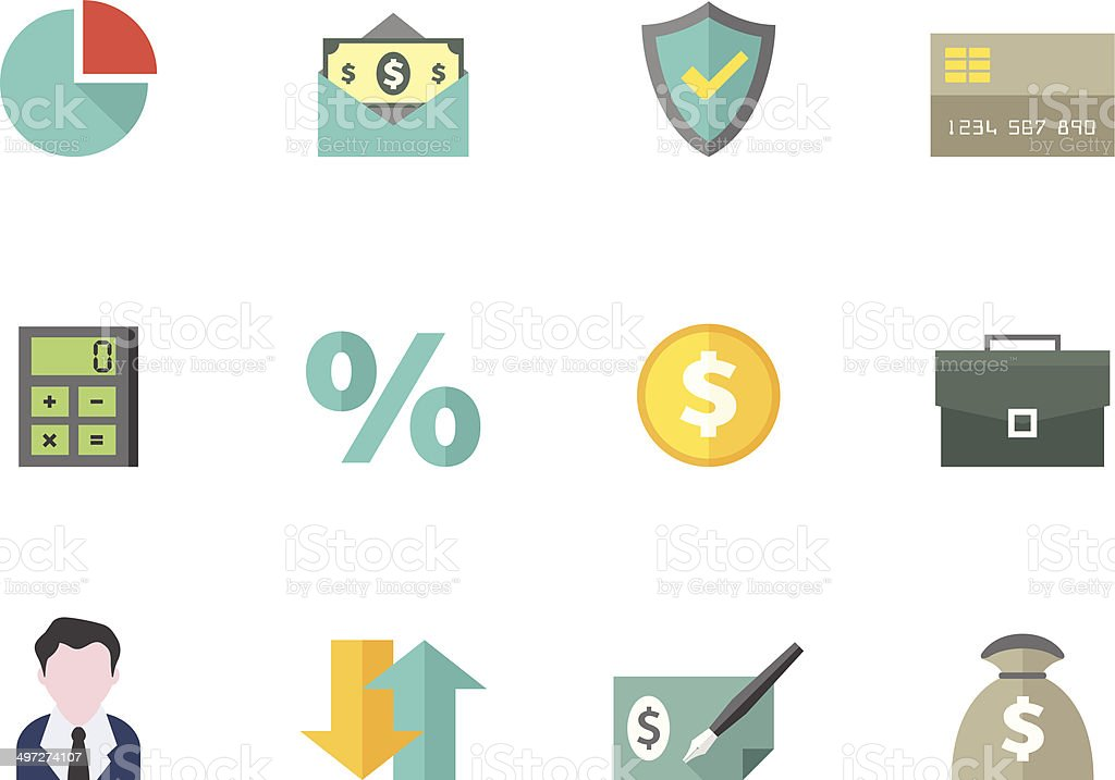 Flat Color Icons - Finance vector art illustration