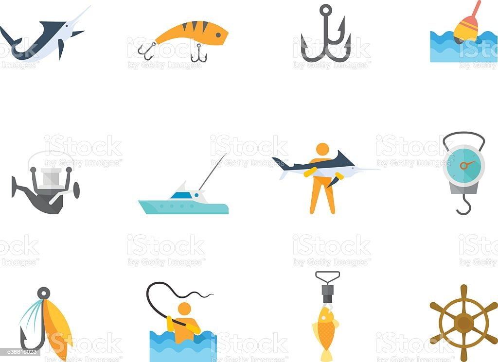 Flat Color Icons - Fishing vector art illustration