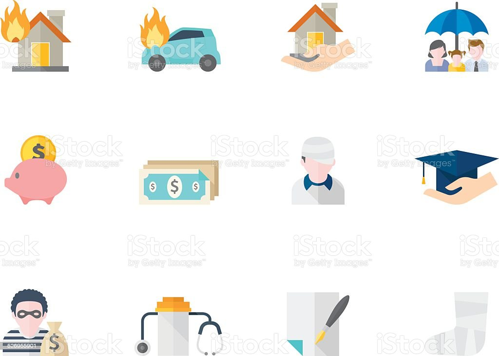 Flat Color Icons - Insurance vector art illustration