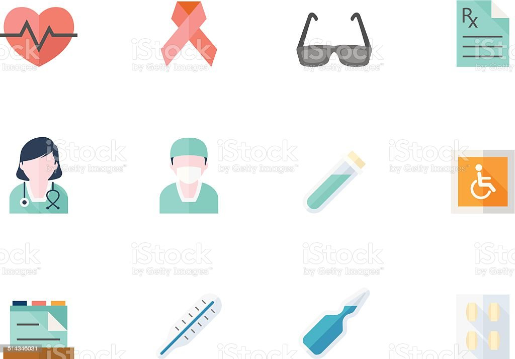 Flat Color Icons - Medical vector art illustration