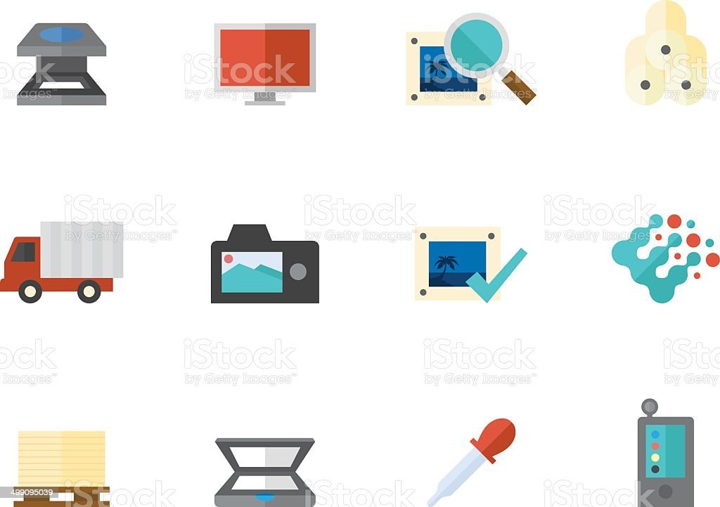 Flat Color Icons - Printing Industry royalty-free stock vector art
