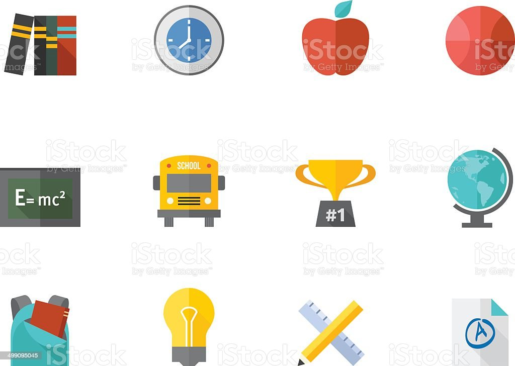 Flat Color Icons - School vector art illustration