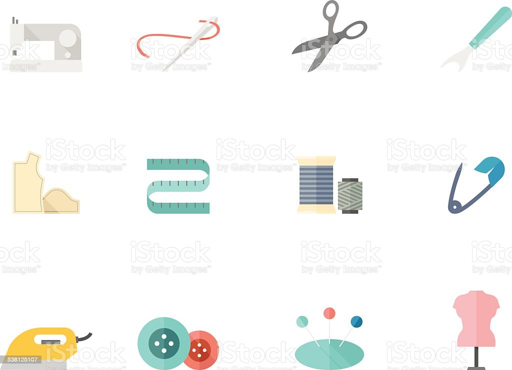 Flat Color Icons - Sewing vector art illustration
