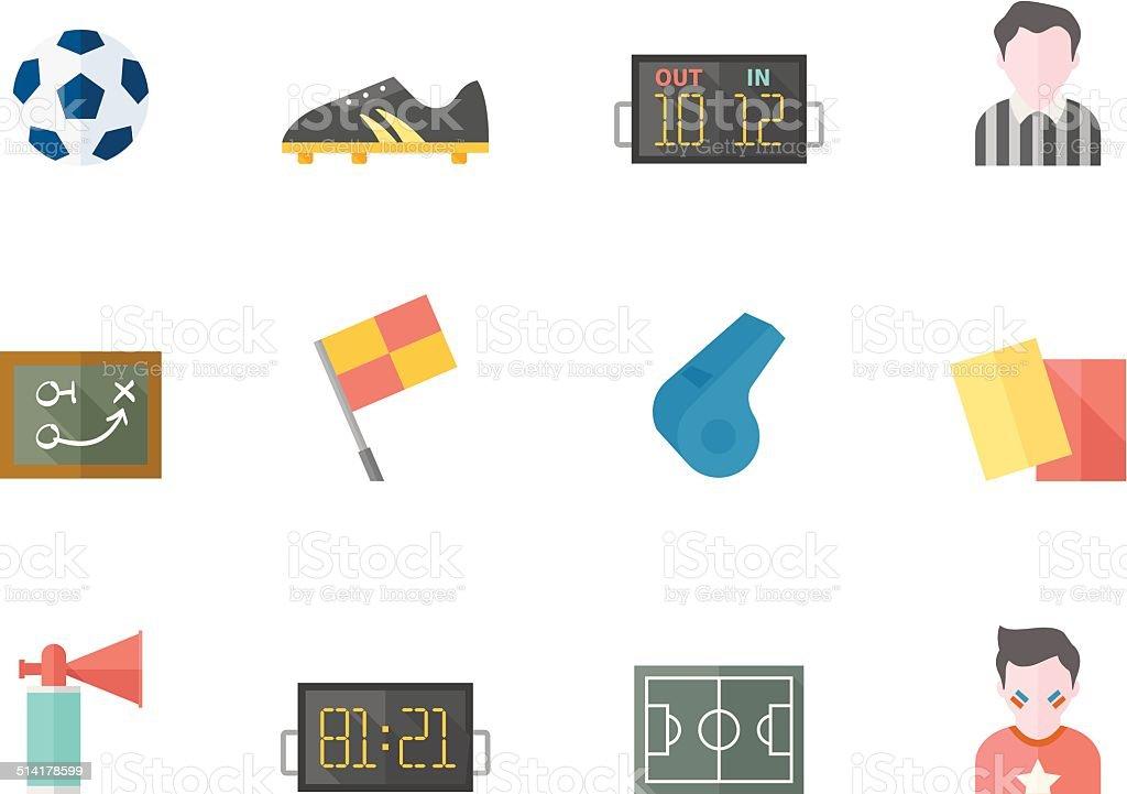 Flat Color Icons - Soccer vector art illustration